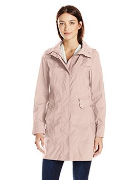 Cole Haan Women's Single Breasted Packable Rain Jacket With Removable Hood by Cole+Haan