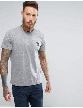 Abercrombie & Fitch Slim Fit T Shirt Exploded Icon Crew Neck In Grey Marl by Abercrombie & Fitch