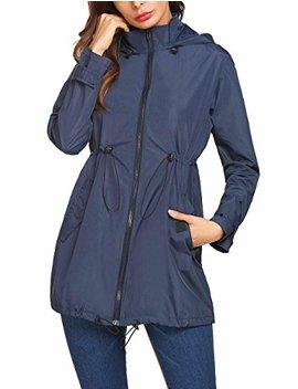 Mofavor Women's Lightweight Waterproof Raincoat Hoodie Rain Jacket Outdoor Anorak Windbreaker by Mofavor