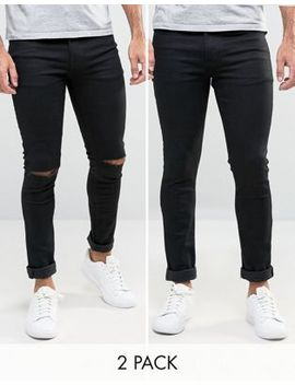 Asos Super Skinny Jeans 2 Pack In Black & Black With Knee Rips Save by Asos
