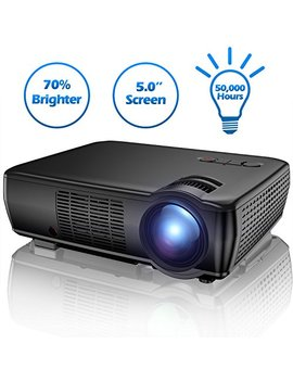 """Projector, Tenker Upgrade +33 Percents Lumens Portable Video Projector Mini Home Theater  5.0"""" Lcd Projector With 176"""" Display Support 1080p Hdmi Vga Usb Av For Out Door & Indoor Movie Nights, Video Games by Tenker"""