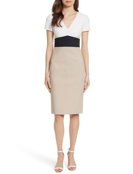 Diane Von Furstenberg Colorblock Stretch Cotton Blend Sheath Dress by Dvf