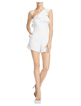Ruffled One Shoulder Romper   100 Percents Exclusive  by Bardot