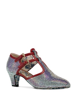 Women's Mila Crystal Embellished Satin T Strap Pumps  by Gucci