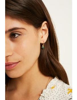 Semi Precious Stone Drop Hoop Earrings by Urban Outfitters