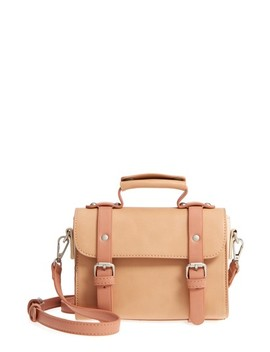 Small Colorblock Faux Leather Satchel by Pixie Mood