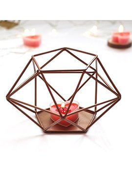 Our Warm Rose Gold Geometric Candle Holder Iron Hollow Tealights Candles Holders For Vintage Wedding Home Decoration 5 X 5 X 3 Inches by Our Warm