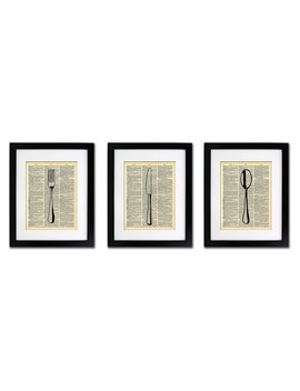 Fork Knife Spoon   Kitchen Art 3 Prints   Vintage Dictionary Print 8x10 Inch Home Vintage Art Abstract Prints Wall Art For Home Decor Wall Decorations For Living Room Bedroom Office Ready To Frame by Amazon