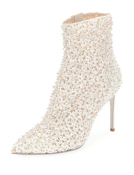 Embellished Bootie With Golden Beading by Rene Caovilla