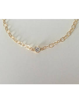 14k Gold Filled Cz Anklet, Wedding Bracelet, Gold Link Bracelet, Bridal Jewelry, Bridesmaid Jewelry, Dainty Gold Bracelet by Etsy