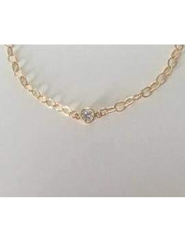 14k Gold Filled Cz Anklet, Wedding Bracelet, Gold Link Bracelet, Bridal Jewelry, Bridesmaid Jewelry, Dainty Gold Bracelet by Etsy