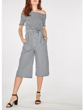 Black Gingham Shirred Jumpsuit by Dorothy Perkins