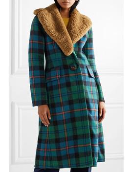 Shearling Trimmed Tartan Wool And Alpaca Blend Coat by Prada