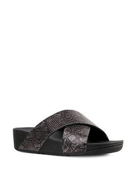 Lulu Python Print Leather Slides by Fitflop
