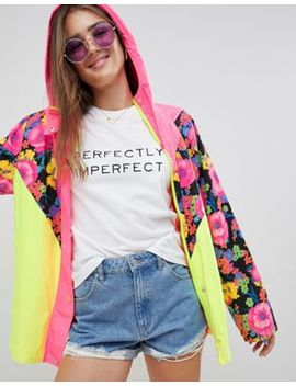 Asos Design Chevron Floral Color Block Jacket by Asos Design