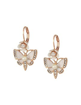 Rose Gold And White Butterfly Drop Earrings by Betsey Johnson