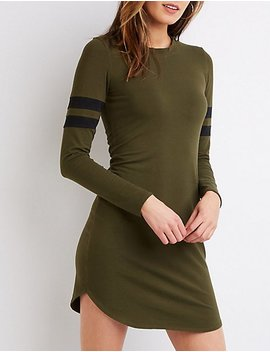 Varsity Stripe T Shirt Dress by Charlotte Russe