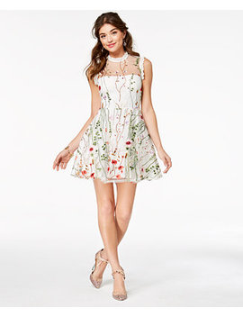 Juniors' Floral Embroidered Fit & Flare Dress, Created For Macy's by City Studios