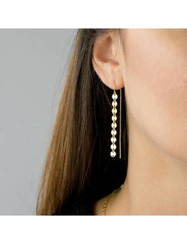 Gold Coin Threader Earrings, Long Dangle Earrings, Minimalist Earrings, Sterling Silver, 14k Gold Fill, Gift For Her, Leila Jewelryshop, E209 by Etsy