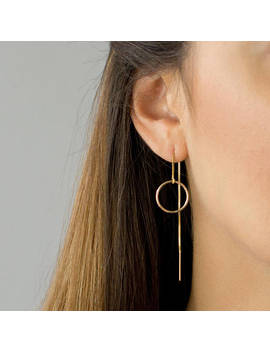 Circle Threader Earrings, Long Dangle Earrings, Dainty Everyday Earring, Gold Threader Earrings, Sterling Silver, By Leila Jewelryshop, E202 by Etsy