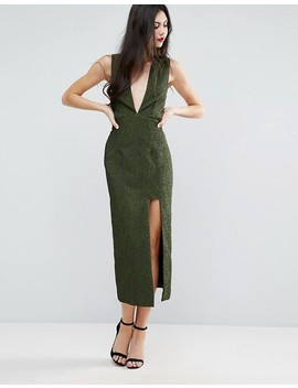 Asos Tall Deep Plunge Croc Midi Dress by Asos Tall