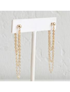 Gold Chain Drop Earrings, Dainty Chain Earrings, Long Dangle Earrings For Women, Sterling Silver, 14k Gold Fill, Leila Jewelryshop, E205 by Etsy