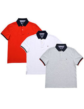 Tommy Hilfiger Polo Shirt Mens Custom Fit Knit Top Short Sleeve Flag Logo New by Tommy Hilfiger
