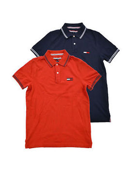 Tommy Hilfiger Polo Shirt Mens Slim Fit Knit Top Big Flag Logo Short Sleeve Mesh by Tommy Hilfiger