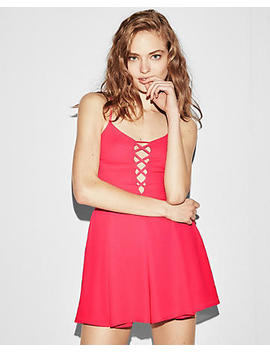 Solid Lattice Front Romper by Express