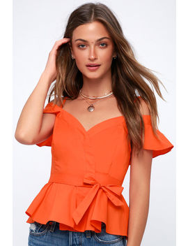 Carly Coral Orange Off The Shoulder Wrap Top by Astr The Label
