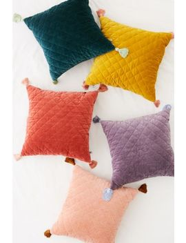 Quilted Velvet Tassel Throw Pillow by Urban Outfitters