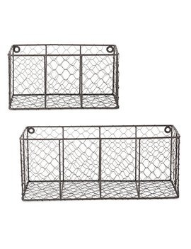 Dii Farmhouse Vintage Chicken Wire Wall Basket, Set Of 2 Assorted, Rustic Bronze by Dii