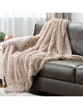 Faux Fur Fleece Throw Blanket 50x60 Shaggy Camel Rustic Home Decor Bedding Blanket by Bedsure