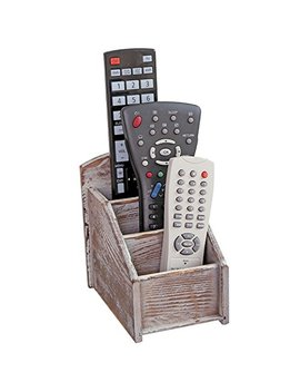 My Gift Rustic Wood Remote Control Caddy, 3 Slot Office Supply Storage Rack, Brown by My Gift