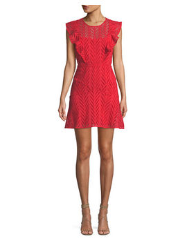 Kira Eyelet Frill Short Dress by Bardot