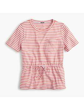 Tie Waist Pocket T Shirt In Stripes by J.Crew