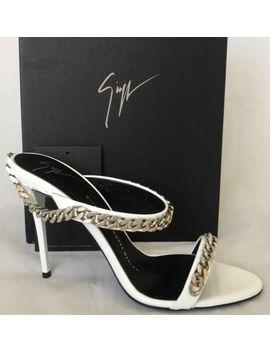 Nib Giuseppe Zanotti Coline 100 White Leather Silver Chain Link Sandals Sz. 6 by Ebay Seller