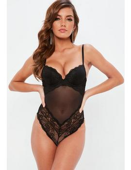 Black Lace Push Up Bodysuit by Missguided