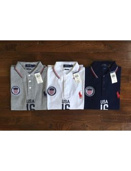 $99 Nwt Polo Ralph Lauren Mens Gray White Navy Usa Flag Patch Logo Shirt Custom by Polo Ralph Lauren