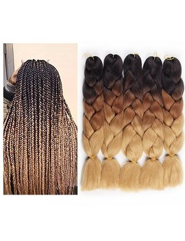 """Hair Way 24"""" 5pcs*100g/Pack Afro Synthetic Jumbo Braids Ombre Kanekalon Fiber Hair Extension For Braiding Hairstyles (Black/D Brown/L Brown) by Amazon"""