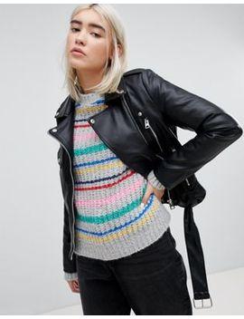 Pull&Bear Leather Look Biker Jacket by Pull&Bear