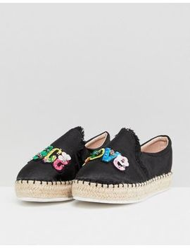Lost Ink Peace & Love Black Flatform Espadrilles by Lost Ink.