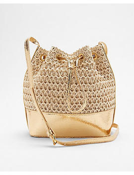 Metallic Straw Bucket Bag by Express