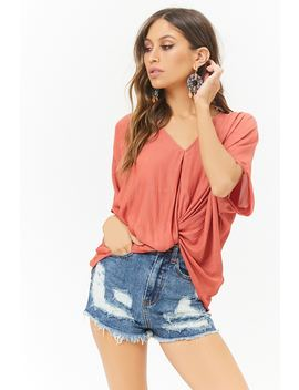 Distressed Denim High Rise Shorts by Forever 21