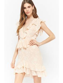 Dark Pink Floral Ruffle Dress by Forever 21