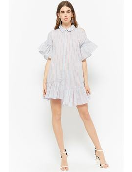 Striped Open Shoulder Shirt Dress by Forever 21