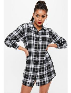 Black Relaxed Oversized Plaid Shirt Dress by Missguided