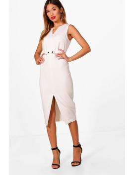 Jennifer Split Front Woven Tailored Belted Dress by Boohoo