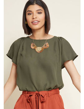 Pleasing Breeze Flutter Sleeve Top In Olive Pleasing Breeze Flutter Sleeve Top In Olive by Modcloth