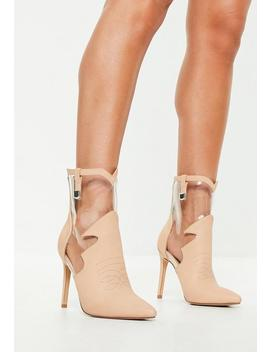 Nude Faux Leather Clear Cut Out Ankle Boots by Missguided